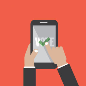Smartphone With Voting App On The Screen In Hand Vector Illustration
